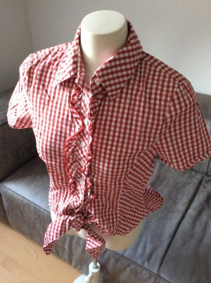 NEUE Karo-Bluse mit Rüschen zum Binden, Gr. 34