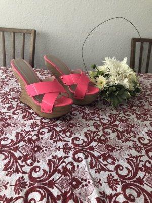 Belle Women Zapatos de cuña rosa neón-beige