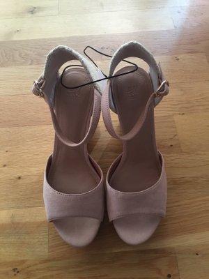 H&M Wedge Sandals pink-cream