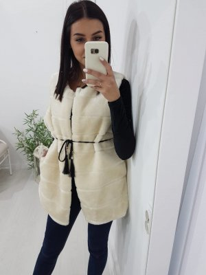 Fur vest natural white-cream