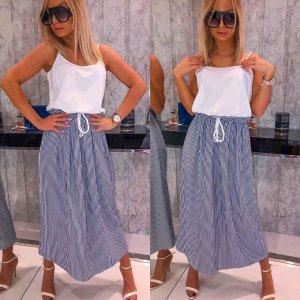 Midi-jurk wit-donkerblauw