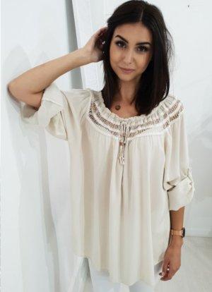 Oversized blouse licht beige