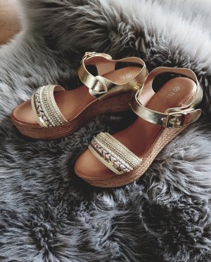 Tulipano Wedge Sandals gold-colored-oatmeal