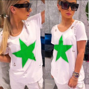 Made in Italy Basic Top white-neon green
