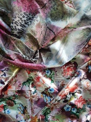 Folkloristische sjaal roze-grijs-lila