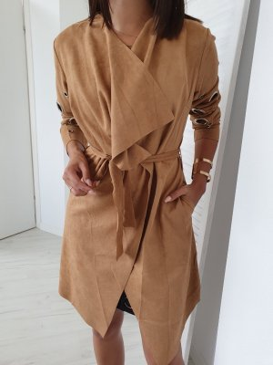 Manteau en cuir beige-chameau