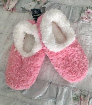 Pantoufles blanc-rose