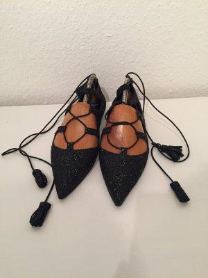 Neue Lace Ballerinas in schwarzem glitter
