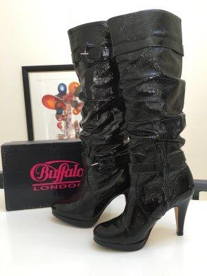 Neue Lackleder Stiefel von Buffalo - tolles knautschiges Leder, sehr hoch