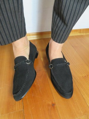 NEUE lands end Penny Loafer Minimal Schwarz Wildleder Leder Slipper Suede Schuhe Flats 39 Oxfords