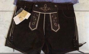 Pantalone in pelle marrone-nero
