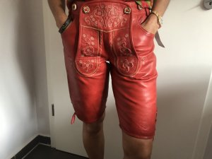 Stockerpoint Pantalone in pelle rosso-bianco sporco Pelle