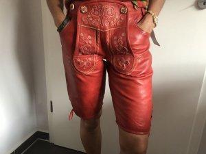 Stockerpoint Pantalón de cuero rojo-blanco puro Cuero