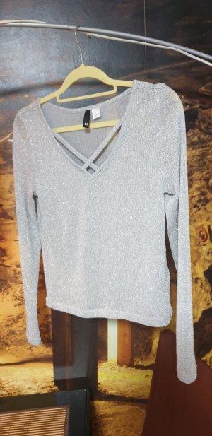 H&M Camisa tejida color plata-gris claro