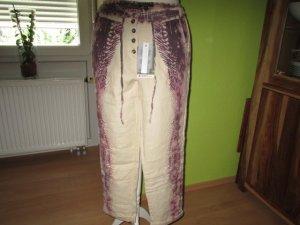 Soccx Pantalón de lino beige-burdeos Lino