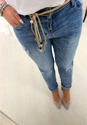 Neue LUXUS Damen Jeans Hose Skinny Röhre Hüftjeans Hüfthose Blogger Baggy Jogpants Risse Flecken + Gürtel Hippie Look Größe S/36