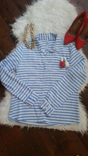 Neue Marine Bluse Blau Weiß