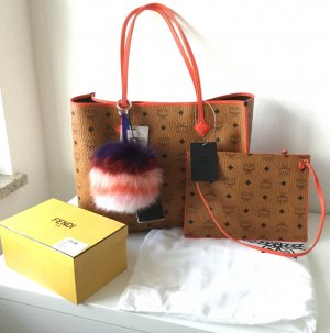 Neue MCM Kira Visetos EW Shopper Medium Cognac + großem Fendi Pombon m. Rechnung