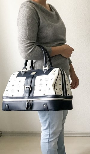MCM Luggage white-dark blue leather