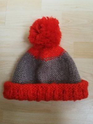 Loevenich Knitted Hat taupe-dark orange