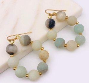 Créoles bleu pâle-blanc