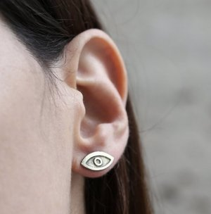 Ear stud silver-colored-black real silver