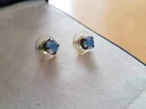 Clou d'oreille bleu azur-bronze