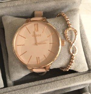 Neue Oozoo Uhr rosa rosegold Echtleder Infinity Armband