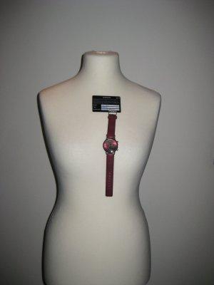Neue OOZZOO Uhr Silber/ dunkel Rot Neu mit Garantie
