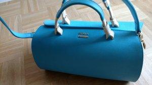 Neue Original FURLA Leder Tasche bauchig hellblau creme weiss. GERNE ANGEBOTE!