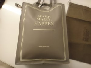 NEUE ORIGINAL GEORGE GINA & LUCY LEDER SHOPPER HELLGRAU TAUPE MAKE MAGIC HAPPEN