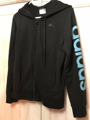 Adidas Capuchon vest zwart-neon blauw