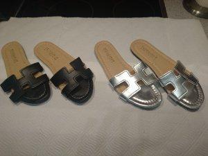 Sandalo romano nero-argento