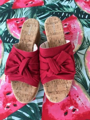 Sandalias con tacón rojo Fibra sintética