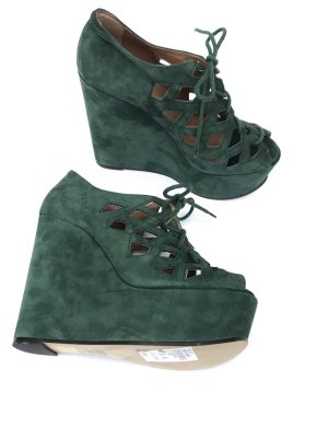 neue Plateau High Heels von Topshop grün Wildleder echtes Leder Gr 39 Vintage Blogger