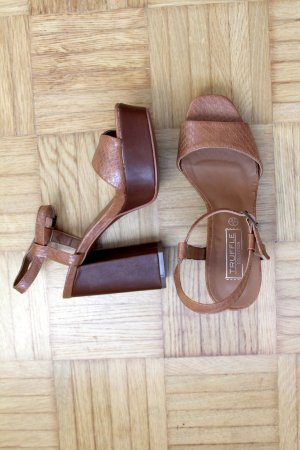 Asos Platform High-Heeled Sandal bronze-colored