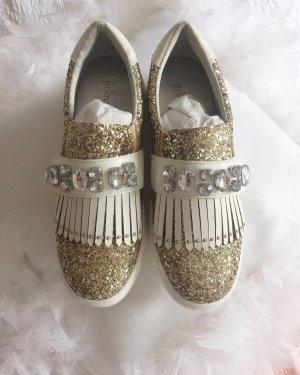 Neue Primadonna Sneaker schuhe slipons Glitzer Strass Blogger 36 Gold