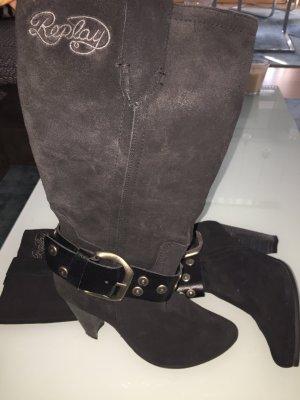Neue Replay Stiefel aus weichem Wildleder in schwarz in 36