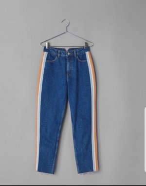 Bershka Boyfriend Trousers orange-blue