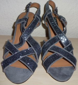 Strapped High-Heeled Sandals dark grey-grey