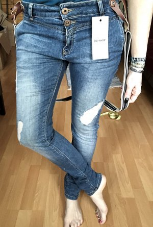 Boyfriend Jeans blue-white