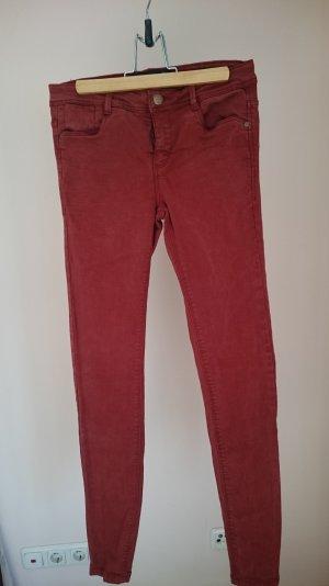 Neue rostrote, auffällige Jeans
