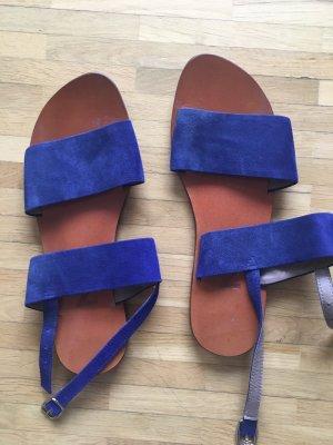 Sandalo con cinturino blu Pelle