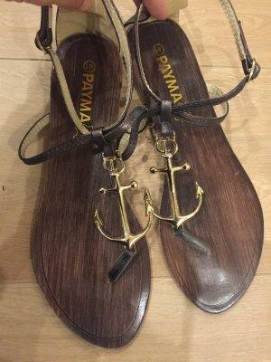 Sandalo toe-post oro-bronzo