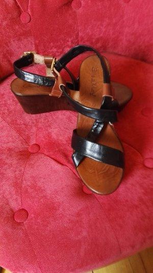 Platform High-Heeled Sandal dark brown leather