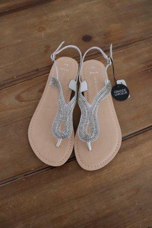 New Look Sandalias con talón descubierto blanco-color plata
