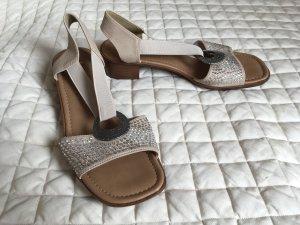 Neue Sandalen von Rieker, Größe 40, beige mit Strass