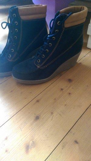 Zalando Patucos con cordones azul oscuro-beige