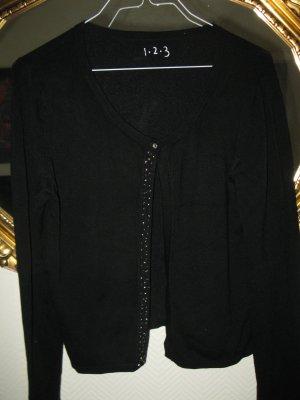 Neue schöne Strickjacke in guter Qualität, D36, schwarz mit Perlenverzierung