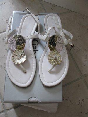 Neue, Schöne weiße Flipflops/Sandale aus Leder, Made in Italy (EU38)